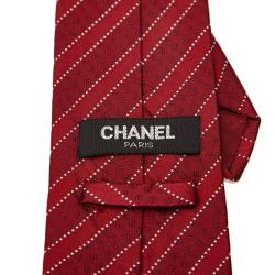 Chanel Red Printed Silk Tie