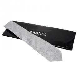 Chanel CC Steel Grey Textured Silk Tie