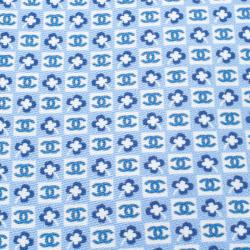 Chanel Light Blue CC And Clover Printed Silk Tie