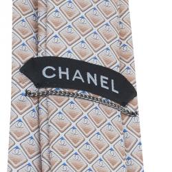 Chanel Beige CC Diamond Printed Silk Tie