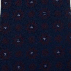 Chanel CC Navy Blue Textured Silk Tie