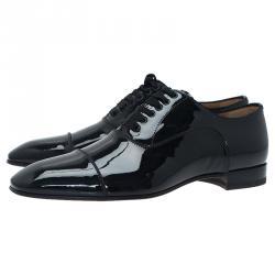 Christian Louboutin Black Patent Greggo Flat Oxfords Size 41
