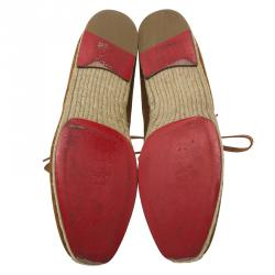 Christian Louboutin Brown Suede Alentejohn Lace Up Espadrille Boots Size 43