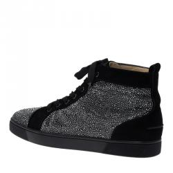 Christian Louboutin Black Strass Suede Louis High Top Sneakers Size 43