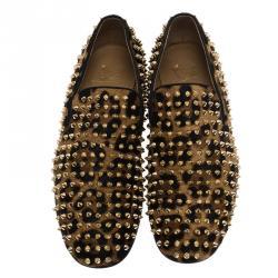 Christian Louboutin Leopard Calf Hair Spike Rollerboy Slip-On Size 42.5