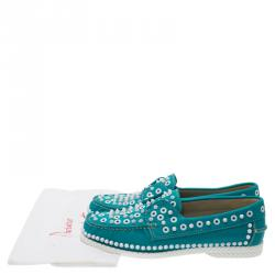 Christian Louboutin Turquoise Spike Leather Yacht Loafers Size 41.5