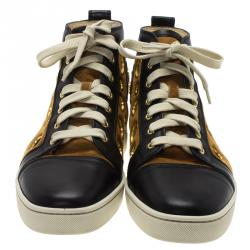 Christian Louboutin Black Leather and Brown Suede Mika On Stage High Top Sneakers Size 43