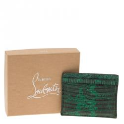 Christian Louboutin Green Lizard Embossed Leather Kios Card Holder