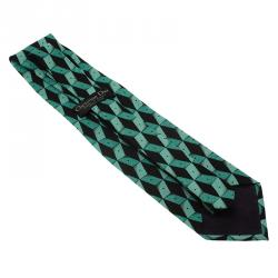 Dior Turquoise and Black Printed Silk Tie