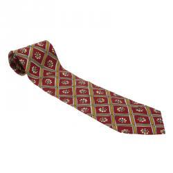 Dior Red Floral Print Silk Tie