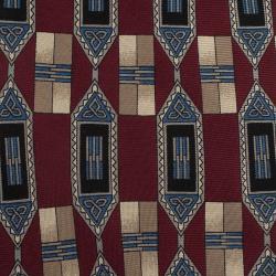 Dior Burgundy and Blue Printed Silk Tie