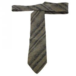 Dior Grey and Black Printed Silk Tie