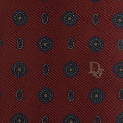 Dior Burgundy and Blue Floral Tie