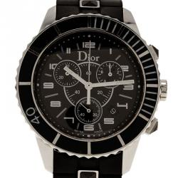 Dior Christal Quartz Chronograph  Stainless Steel & Ceramic Black Mens Watch 38 MM