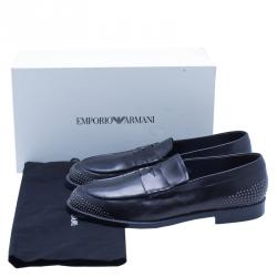 Emporio Armani Black Studded Leather Penny Loafers Size 43