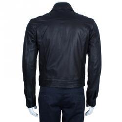 Emporio Armani Men's Black Leather Bomber Jacket M