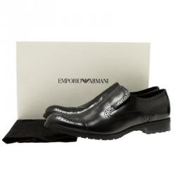 Emporio Armani Black Leather Brogue Slip-On Shoes Size 42.5