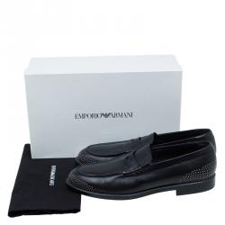 Emporio Armani Black Studded Leather Penny Loafers Size 44