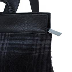 Emporio Armani Black Leather and Calf Hair Check Fash Backpack