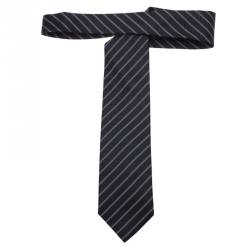 Ermenegildo Zegna Navy Blue and White Textured Striped Silk Tie