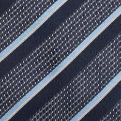 Ermenegildo Zegna Blue and Cream Textured Striped Silk Tie