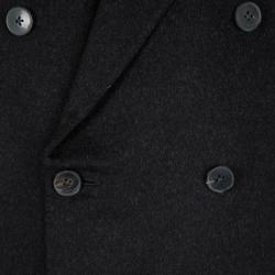 Ermenegildo Zegna Black Cashmere Double Breasted Coat 4XL