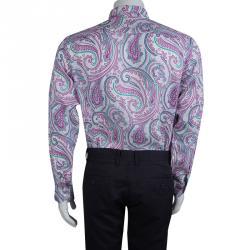 Etro White Paisley Printed Long Sleeve Buttondown Linen Shirt L