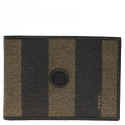 Fendi Tobacco Coated Canvas Pequin Bifold Wallet