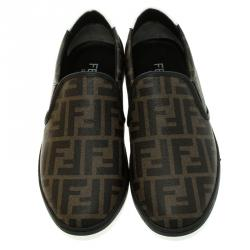 Fendi Brown Zucca Coated Canvas Slip On Sneakers Size 41