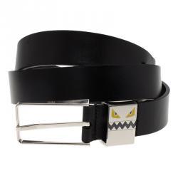 681f090962 Fendi Black Leather Monster Face Buckle Belt 100 CM
