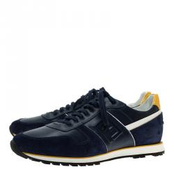 Fendi Tricolor Suede and Leather Lace Up Sneakers Size 41