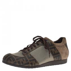 Fendi Two Tone Zucca Canvas and Suede Sneakers Size 44
