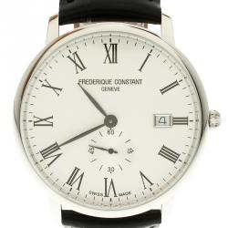 Frederique Constant White Stainless Classics Slim Line  FC 245WR5S6 Men's Wristwatch 39 mm