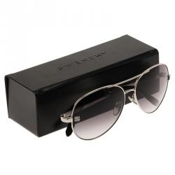 Givenchy Silver and Black SGV464 Aviator Sunglasses