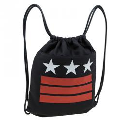 Givenchy Black Nylon Stars Stripes Drawstring Backpack