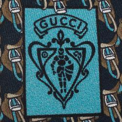 Gucci Navy Blue Printed Silk Tie