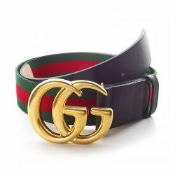 3812e73b4 Gucci Black Leather and Web Detail Double G Buckle Belt 105CM