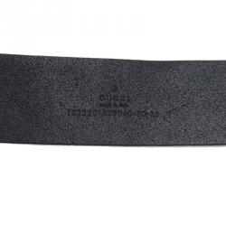Gucci Black Guccissima Leather Square Interlocking G Buckle Belt 90CM