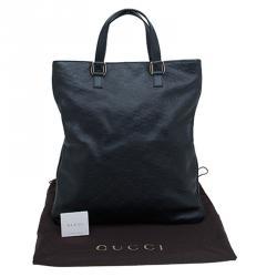 Gucci Black Guccissima Leather Slim Portfolio Tote