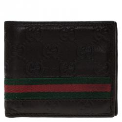 afdde2149 Gucci Dark Brown Guccissima Leather Web Bi Fold Wallet
