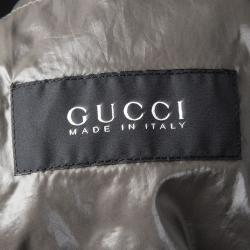Gucci Patent Black Hooded Zip Front Jacket M