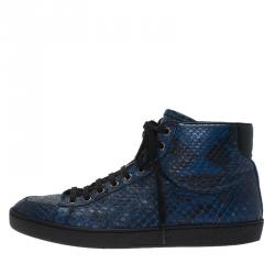 Gucci Blue Python High Top Sneakers Size 41.5