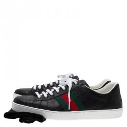Gucci Black Guccissima Leather Web Detail Ace Sneakers Size 45.5