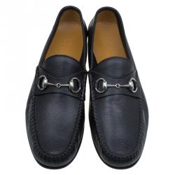 Gucci Black Leather Hebron Horsebit Loafers Size 41