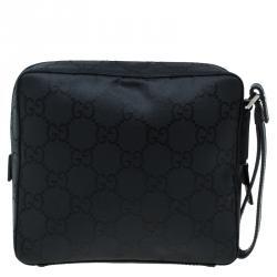 Gucci Black GG Nylon Pouch Bag