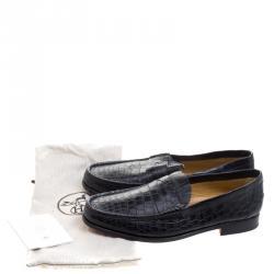 Hermes Black Alligator Leather Loafers Size 44