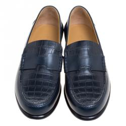 حذاء لوفرز هيرمس جلد تمساح أزرق داكن مقاس 44