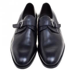 حذاء ديربي هيرمس جلد أسود بأبزيم مقاس 43.5