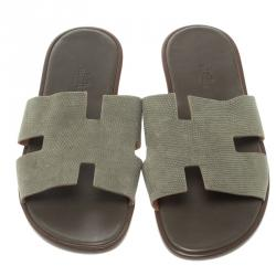 Hermes Grey Lizard Izmir Sandals Size 44