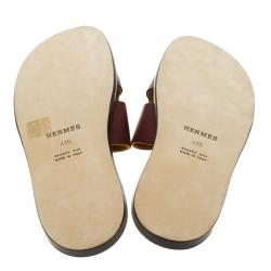 Hermes Maroon Leather Izmir Sandals Size 43.5